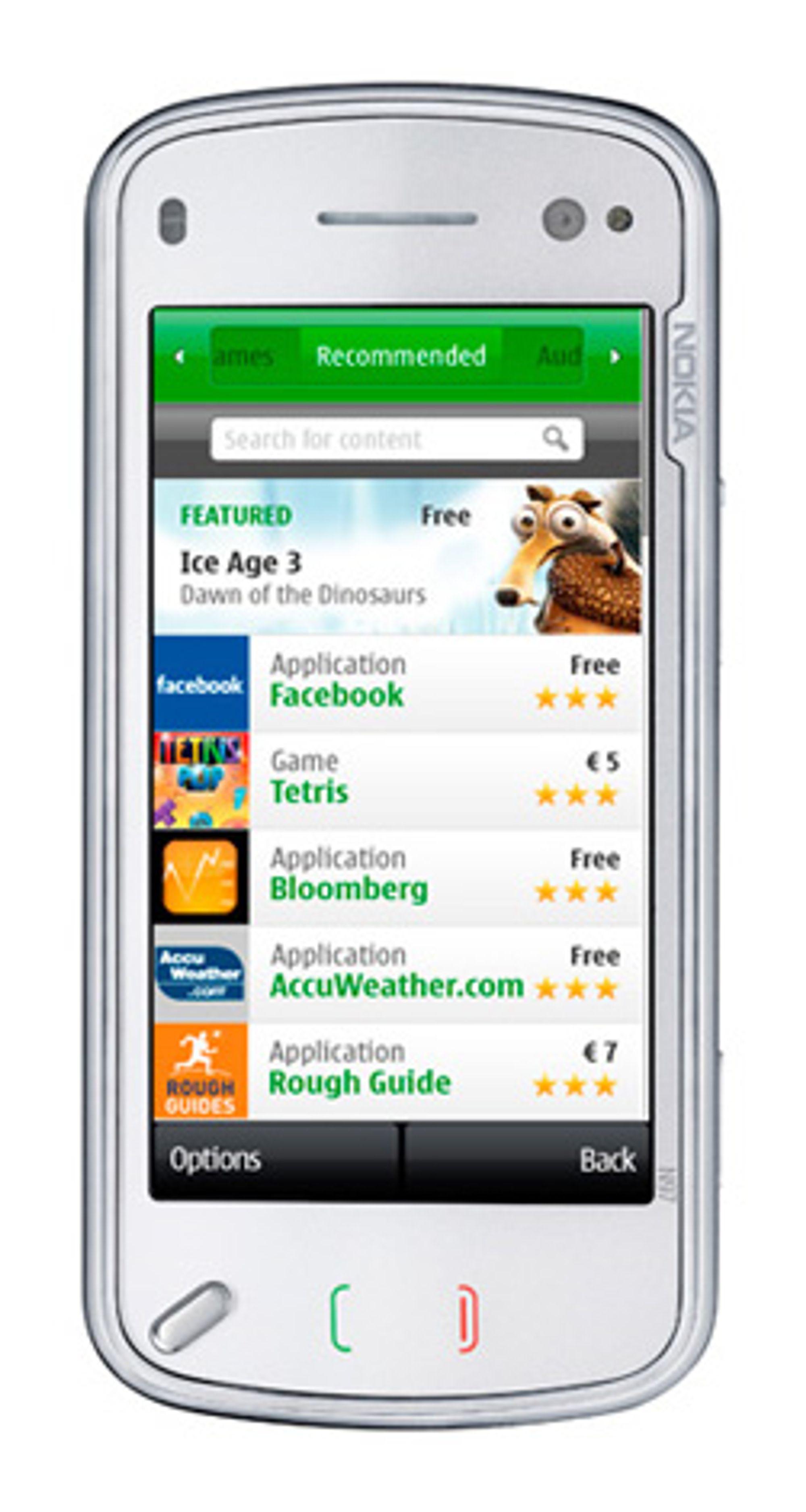 N97, den foreløpig eneste mobilen med Ovi Store forhåndsinstallert. (Foto: Nokia)