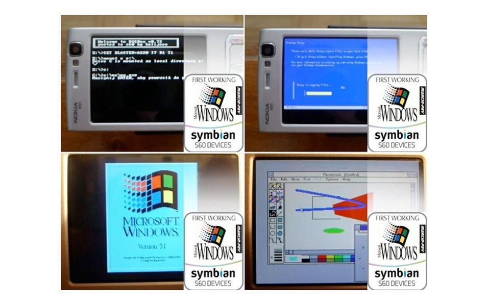Skjermbilder fra Windows 3.1 på N95.