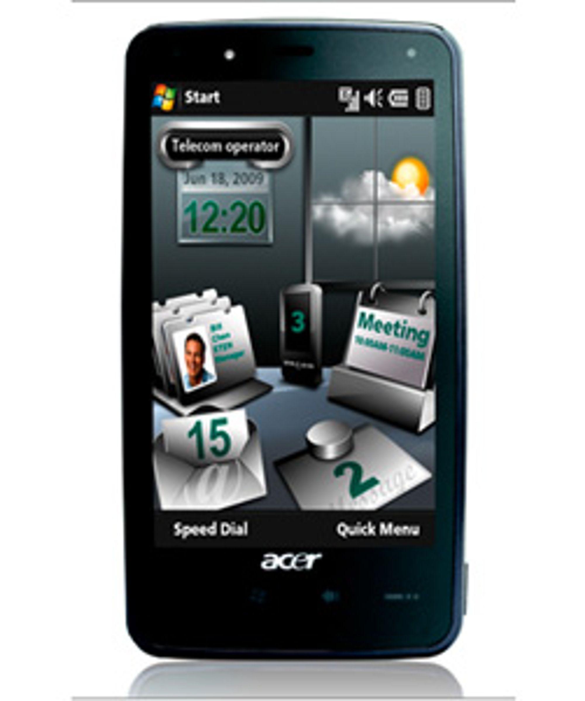 En av Acers nye telefoner, Tempo F900. (Foto: Acer)