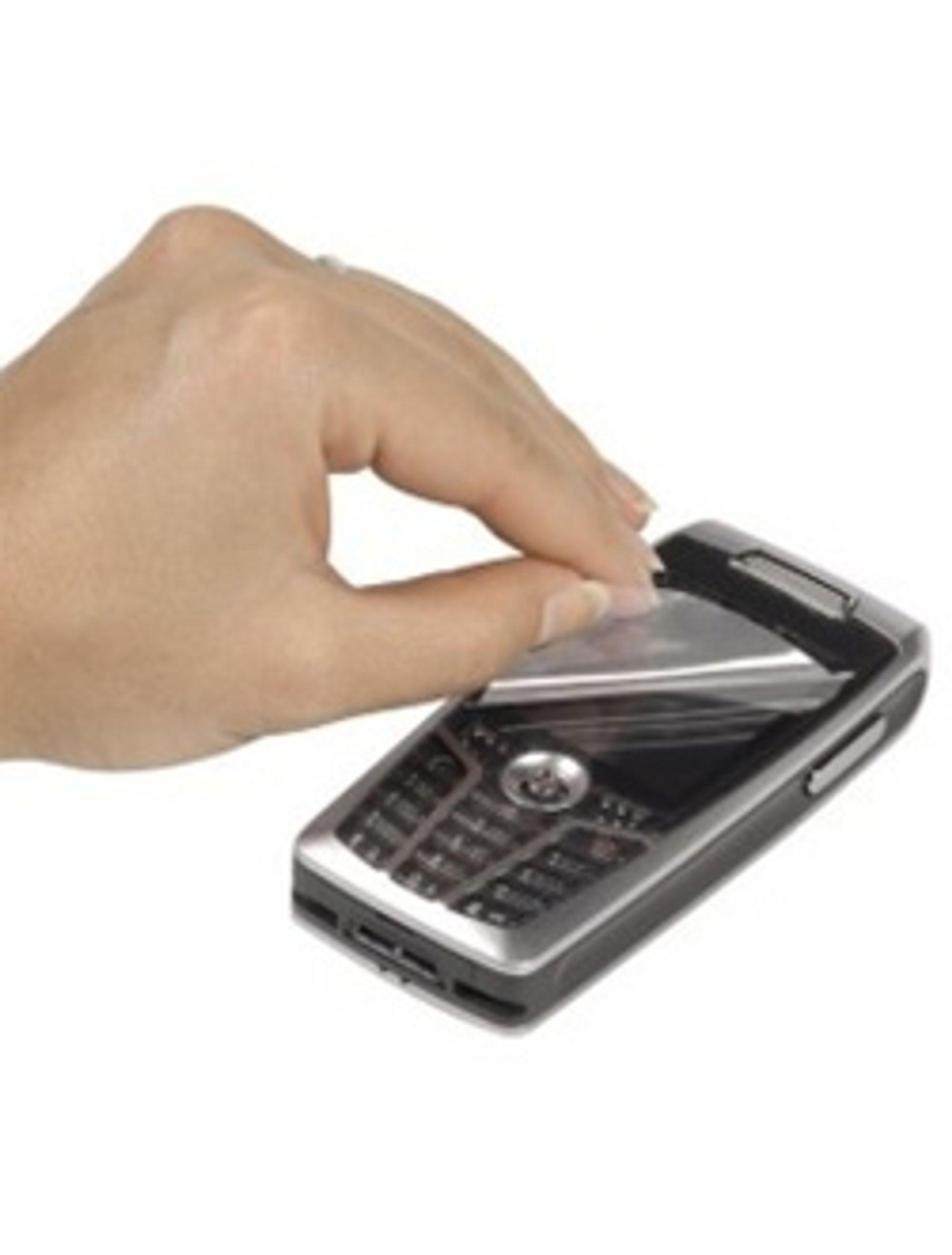 Beskyttende film til mobilskjerm. (Foto: Hama)