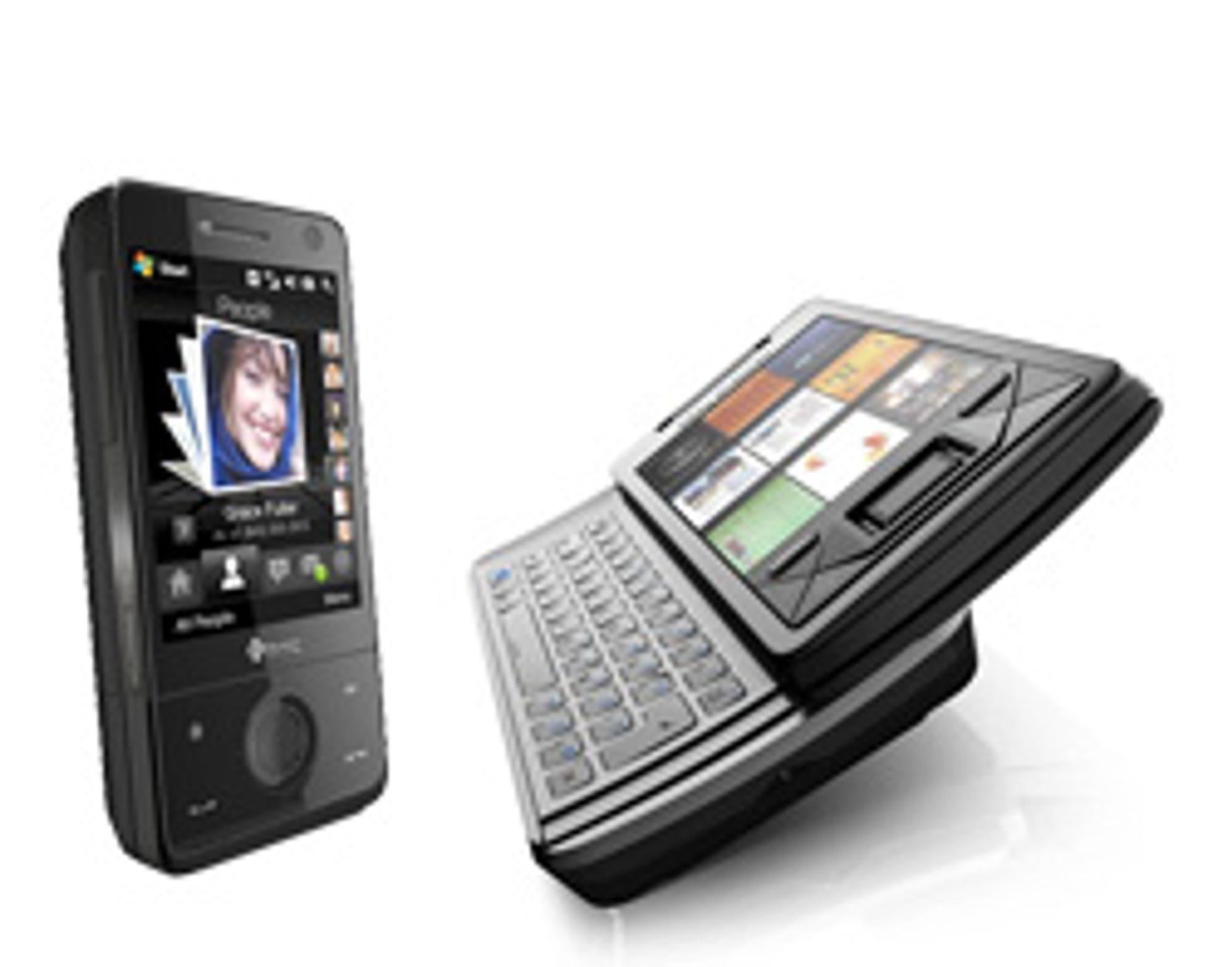 HTC Touch Pro til venstre og Sony Ericsson Xperia X1 til høyre har begge fulltastatur. (Foto: pressefoto)