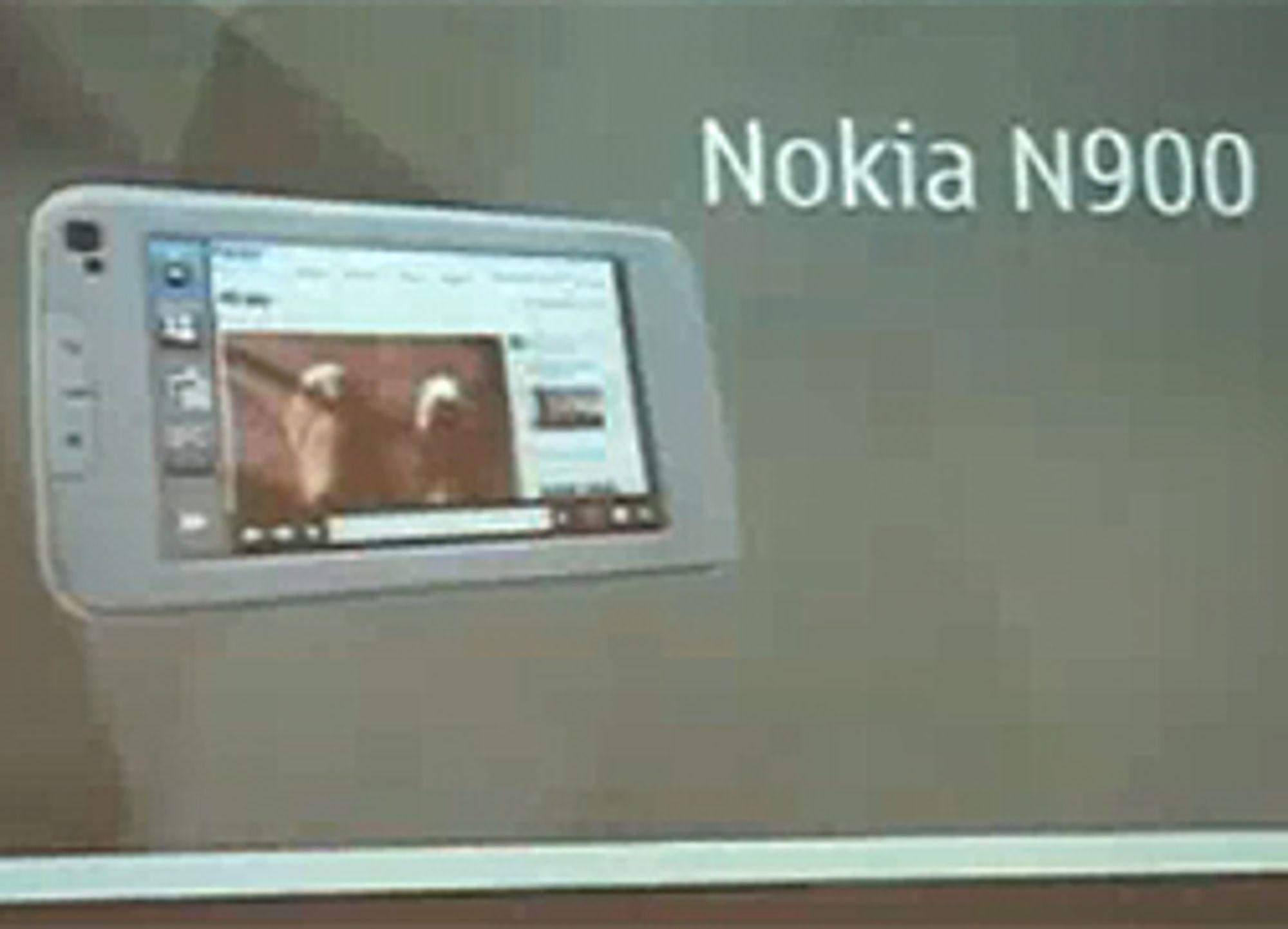Videoen viser en Nokia N900.