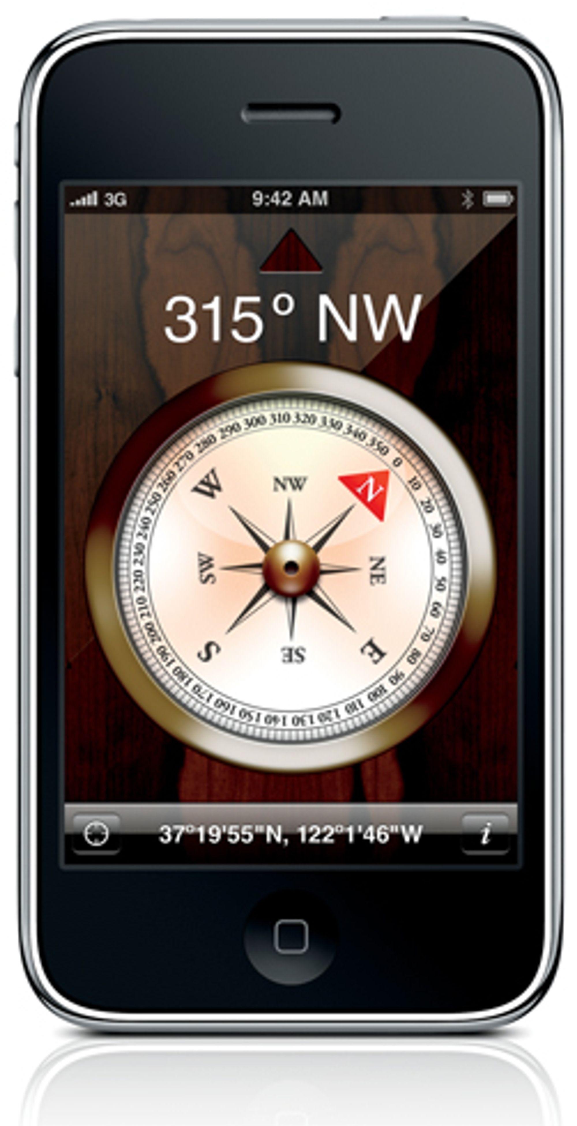 Iphone 3GS har også fått et magnetisk kompass innebygget.