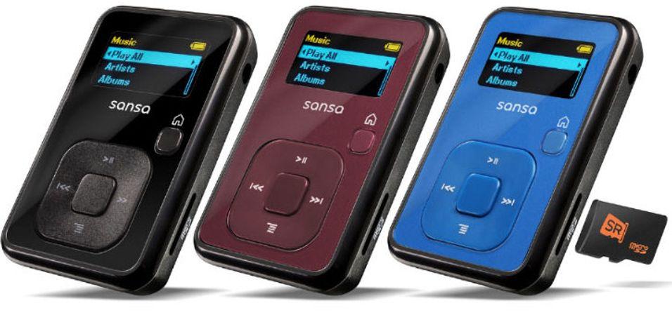 4 GB-versjonen av Sansa Clip+ kommer i ulike farger