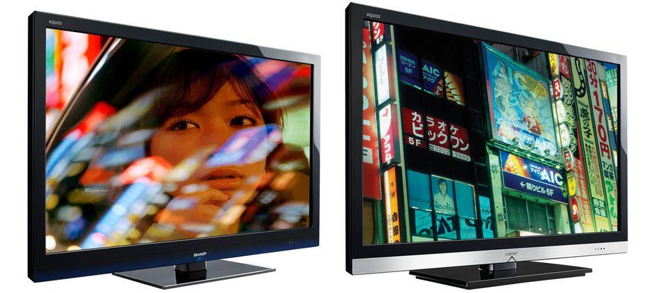 Sharps nye LED LCD-serier: LE700E til venstre, LE600E til høyre