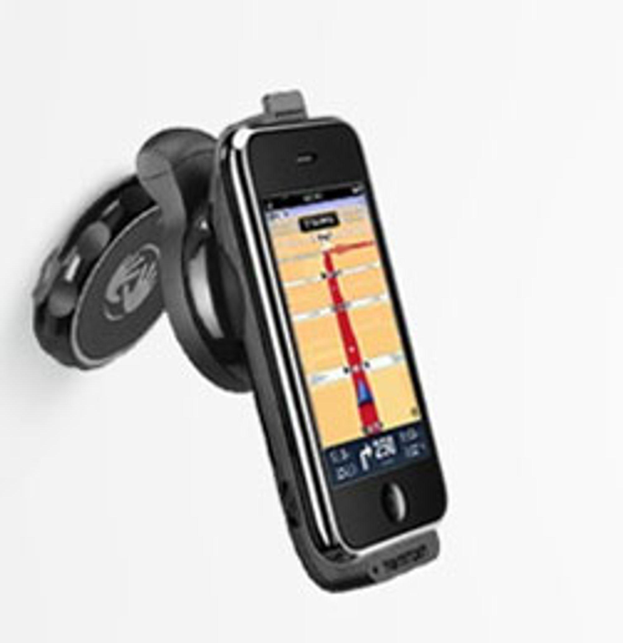 Tomtoms bilholder for Iphone. (Bilde: Tomtom)
