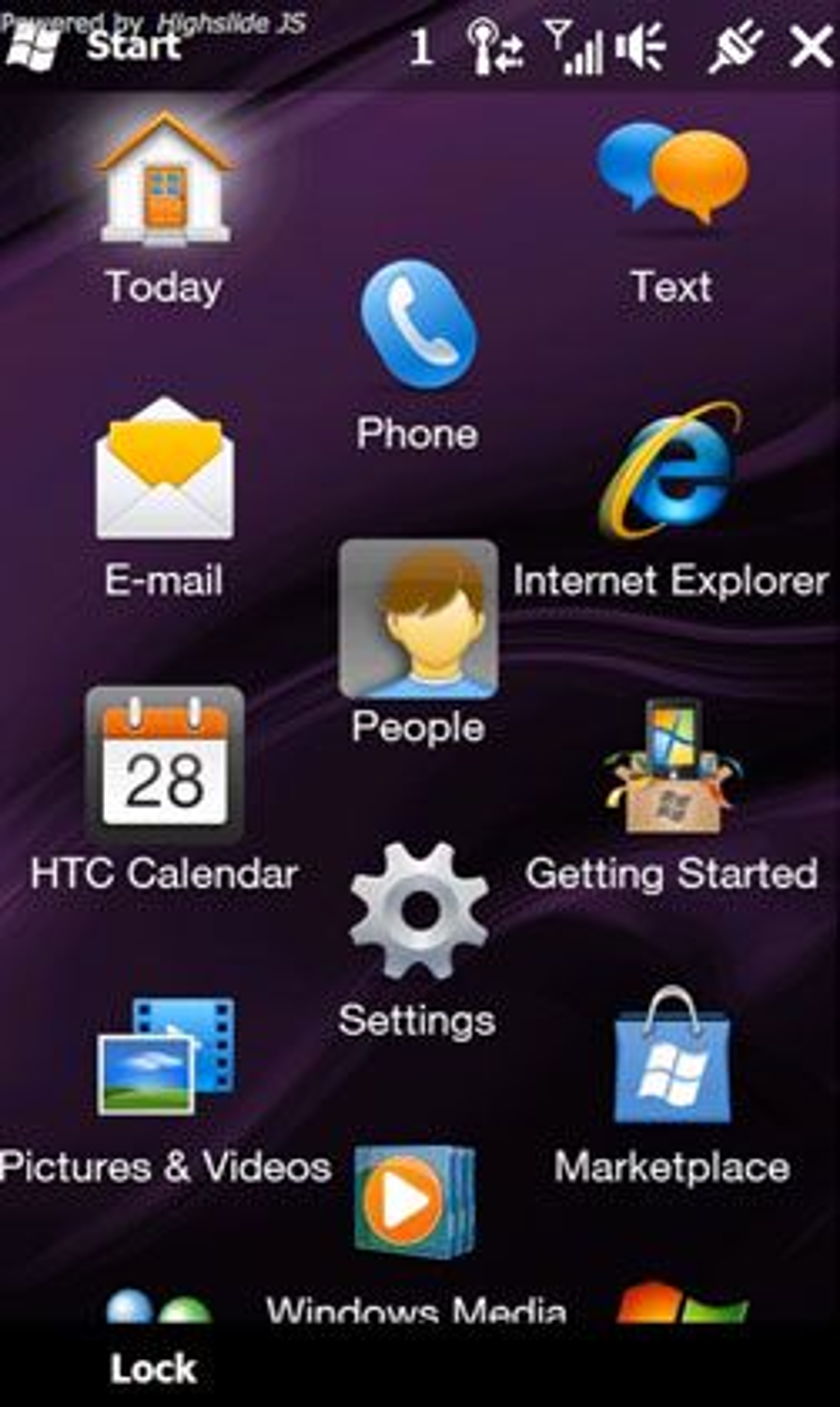 Skjermskudd fra HTC Touch Pro med Windows Mobile 6.5. (Foto: HTCpedia.com)