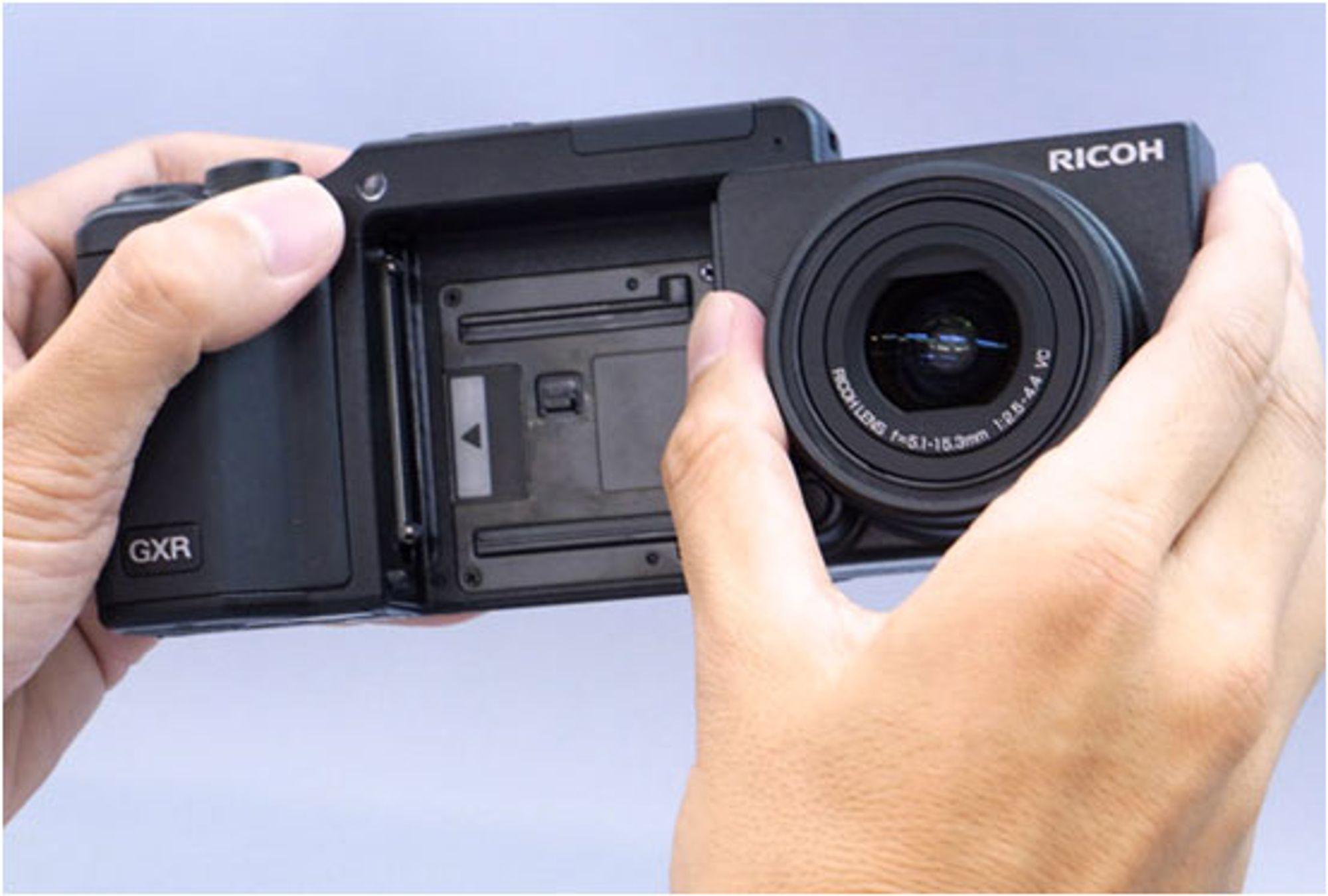 Ricoh GXR er et modulært system der du kan bytte ut optikk, bildebrikke og prosessor.