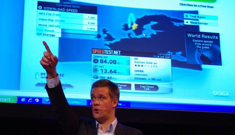 Vegard Kjenner, tjenestedirektør i Netcom, demonsterte i dag 4G for pressen.