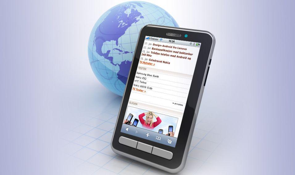 Mobiltilpasset versjon av amobil på mobil.amobil.no