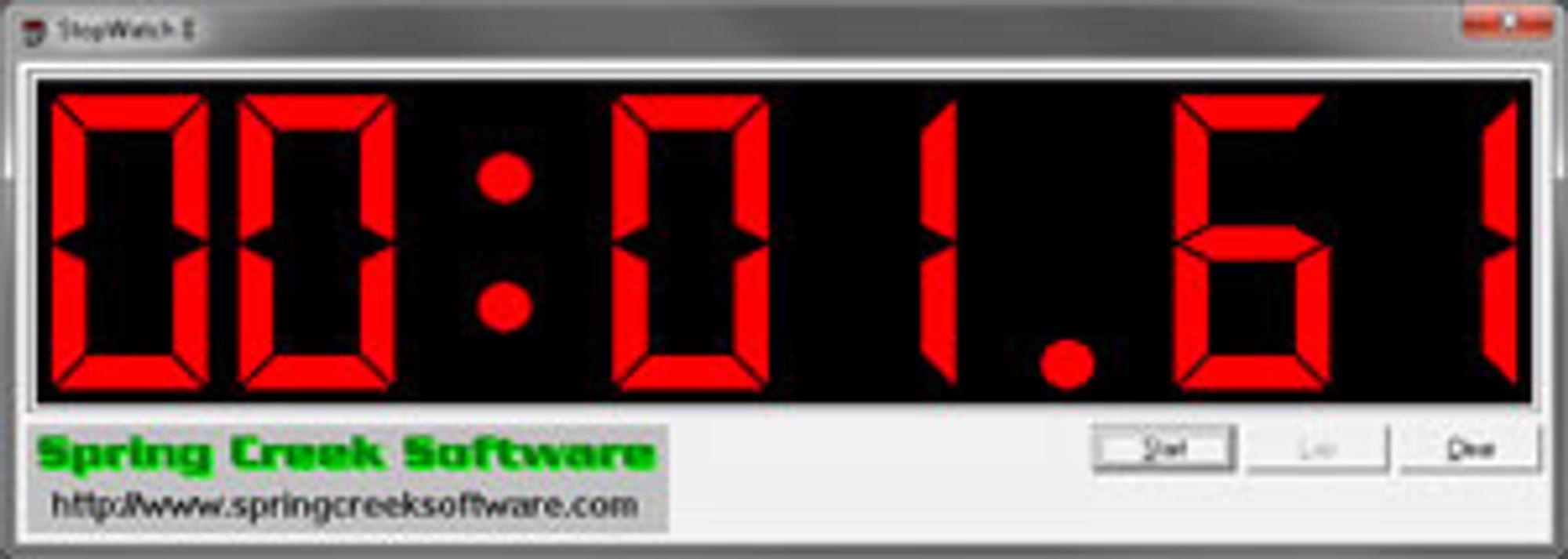 Vi tar bilde av stoppeklokken for å få så nøyaktige målinger som mulig.
