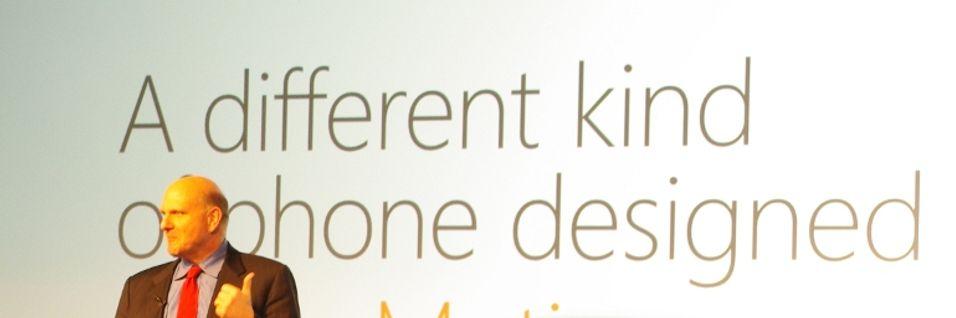Steve Ballmer under lanseringen av Windows Phone 7 for to år siden.