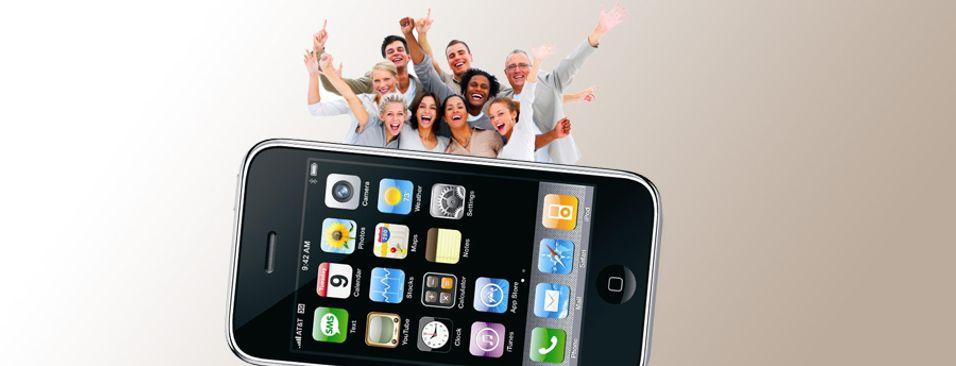 Iphone-eiere er tilsynelatende en svært fornøyd gjeng (Illustrasjonsbilde)