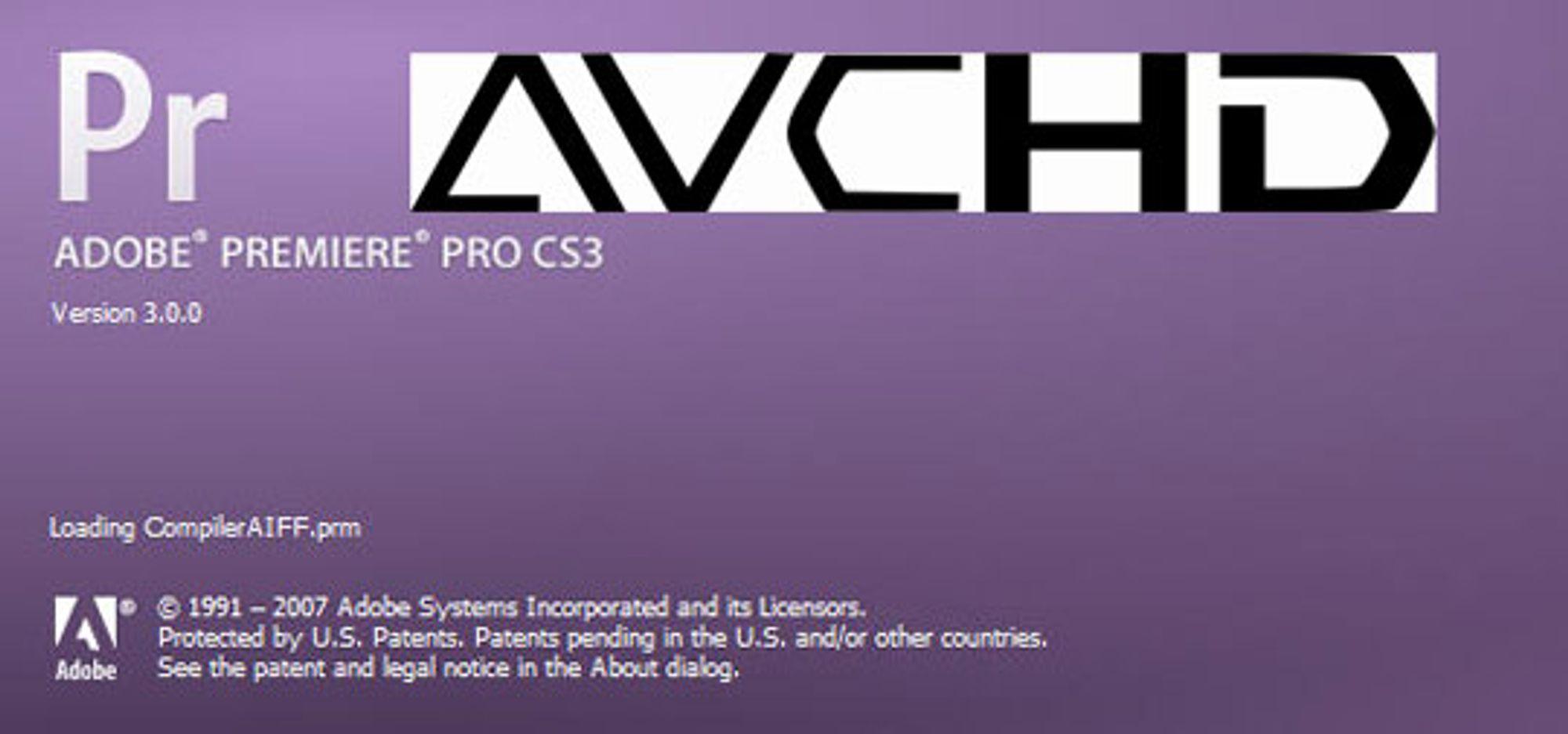 Premiere Pro CS3 nå med støtte for AVCHD.