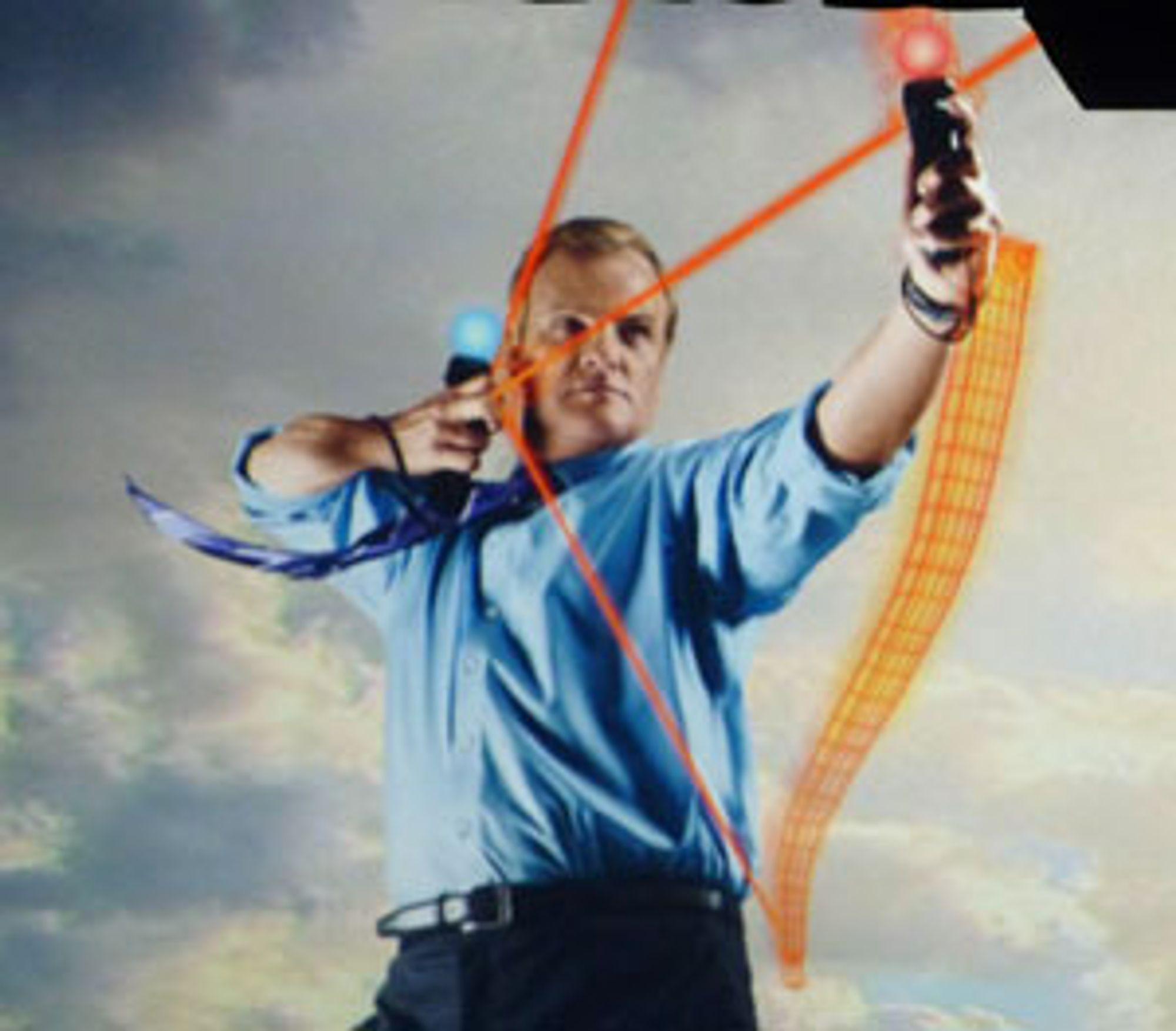 Tøyse-visepresident av blant annet ryktefornektelser hos Sony, Kevin Butler demonstrer korrekt Move-bruk.
