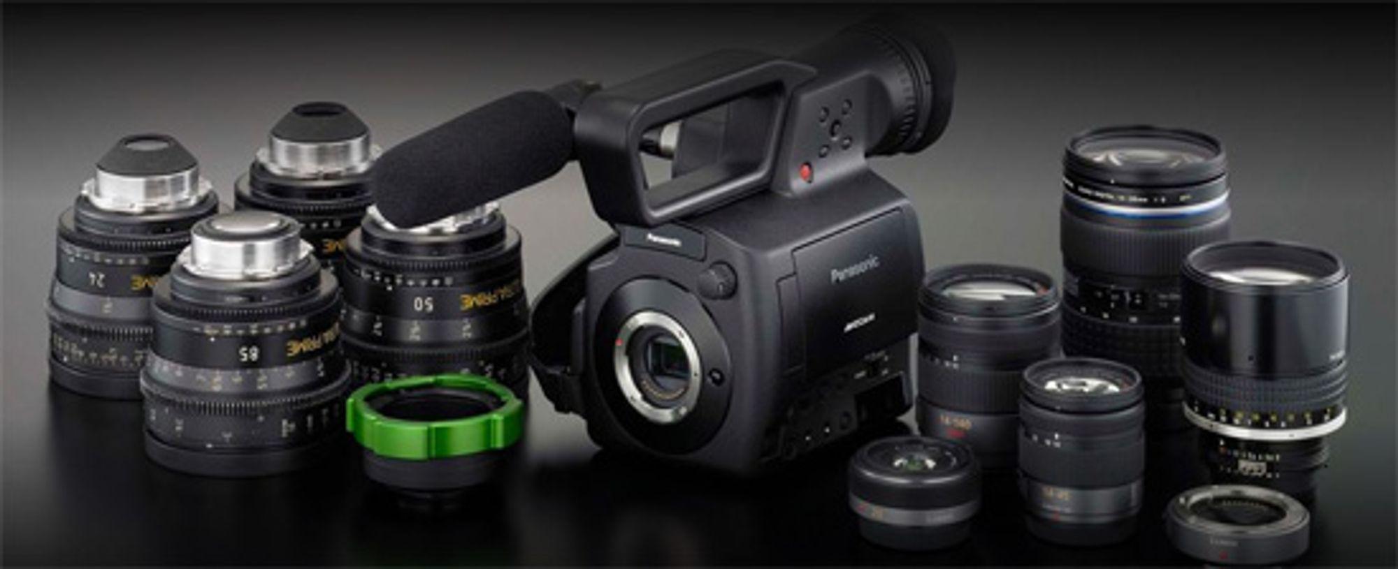 Panasonic AG-AF100 med tilgjengelige objektiver.