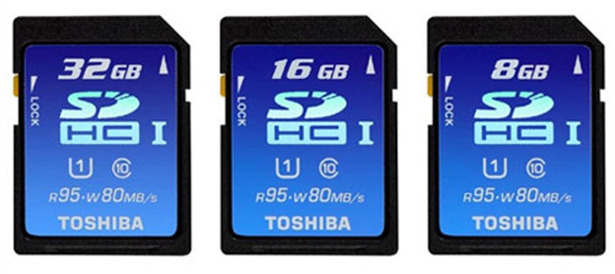 8GB, 16GB og 32GB SDHC-minnekort fra Toshiba,