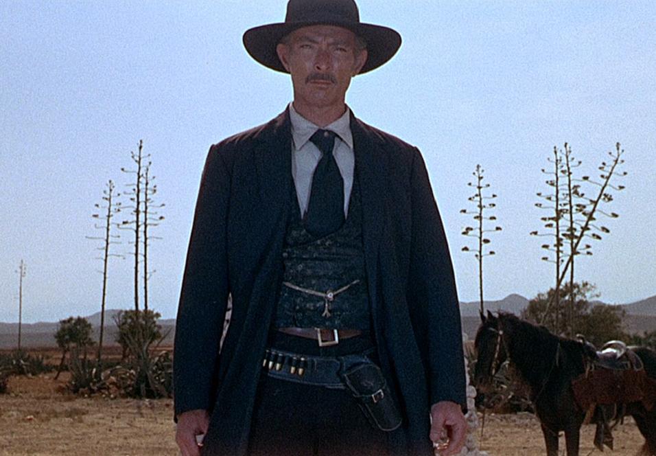 Lee Van Cleef som oberst Douglas Mortimer i For a Few Dollars More.