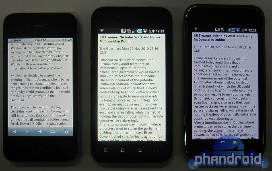 Fra venstre: Iphone 4, LG B, Galaxy S