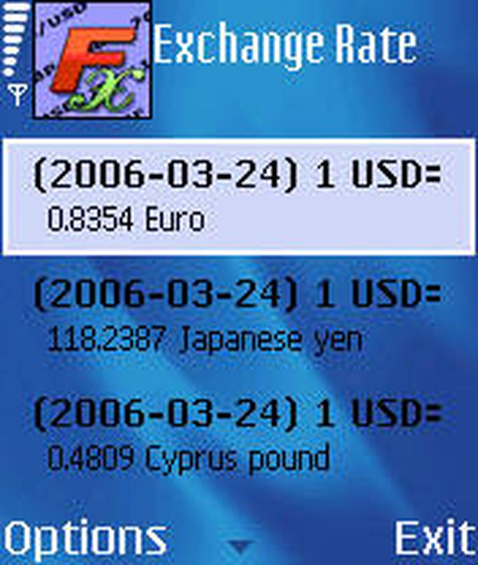 Mobile exchange rate