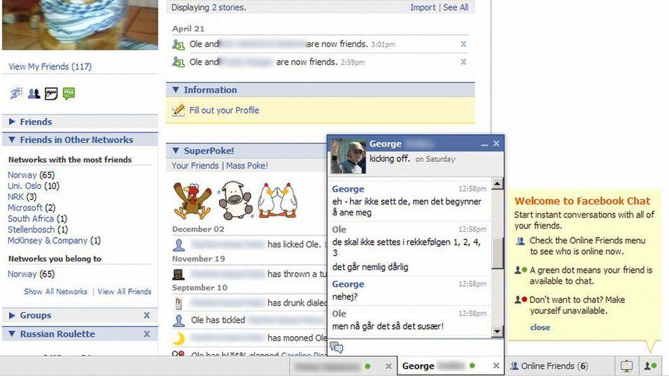 Facebook chat er på plass