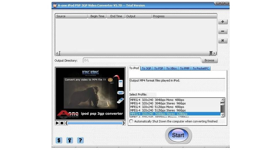 A-one Ipod PSP 3GP video converter 5.68