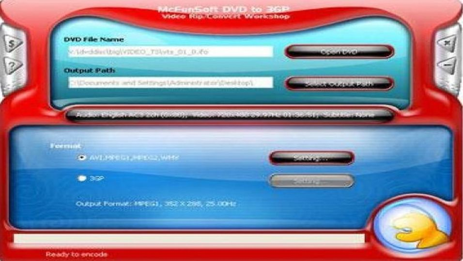 McFunSoft DVD to 3GP video rip/convert workshop 8.0.4.14