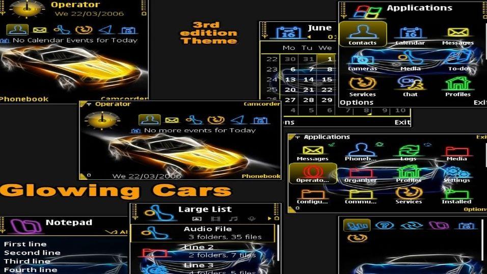 Glowing cars mobiltema