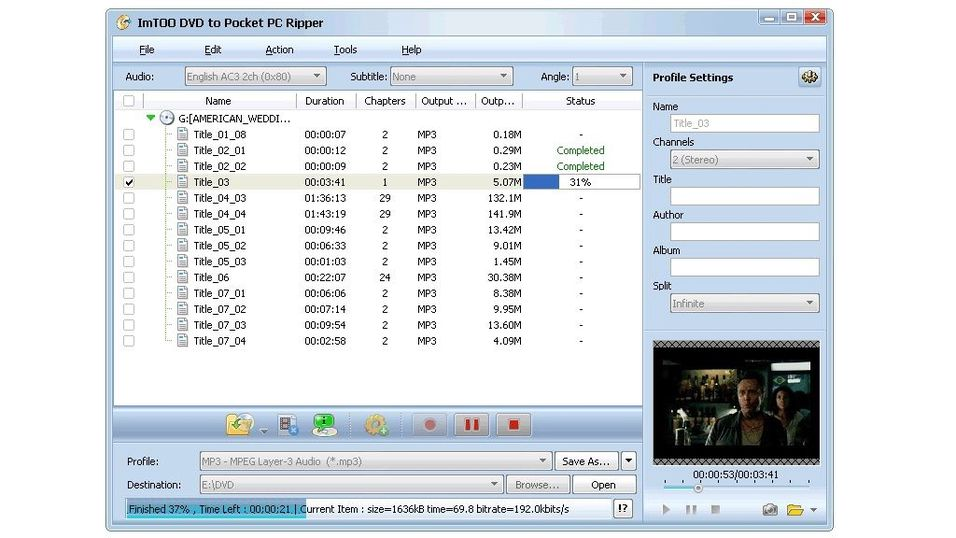 Imtoo DVD to Pocket PC Ripper 5.0.44.0925