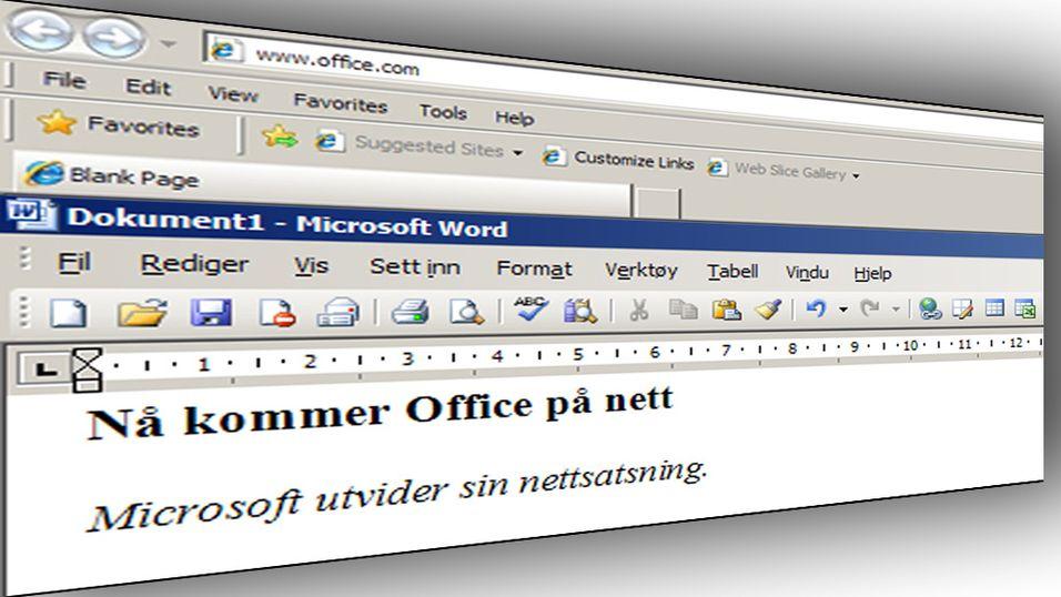 Nå kommer Office på nett