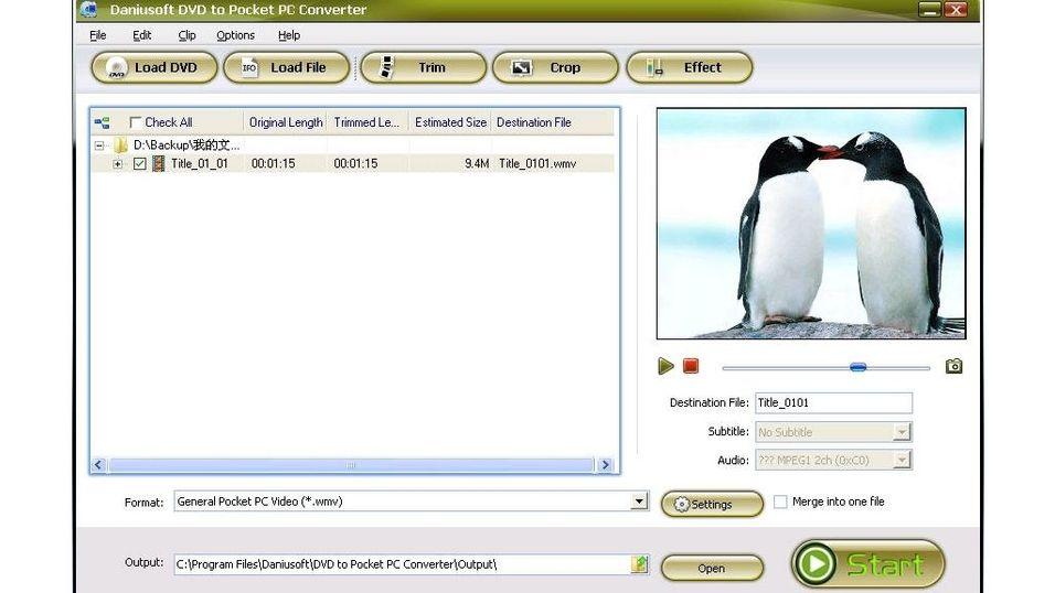 Daniusoft DVD to Pocket PC Converter (Build 1.3.33)