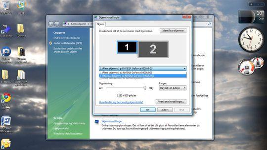 Velg skjerm nummer 2 for å aktivere.
