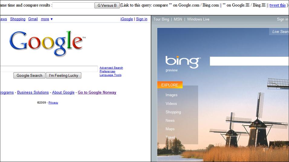 Google mot Bing