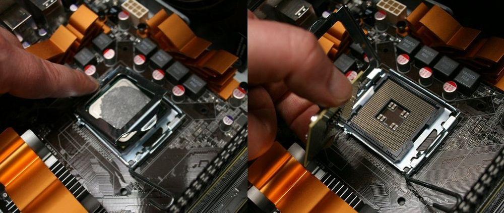 Sokkelen gjør det enkelt å bytte prosessor. Her sokkel LGA 775.