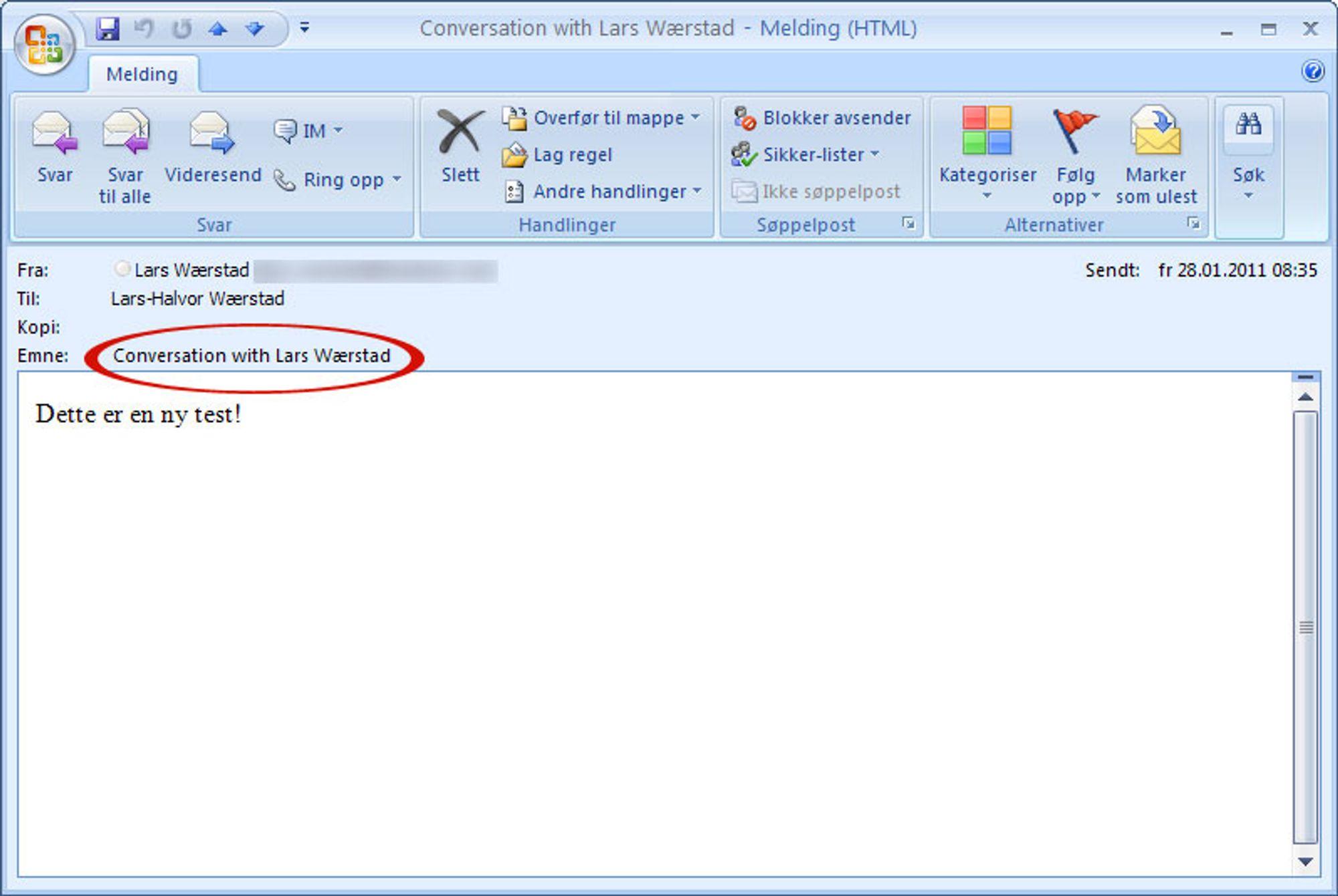 E-post bekjente søkt
