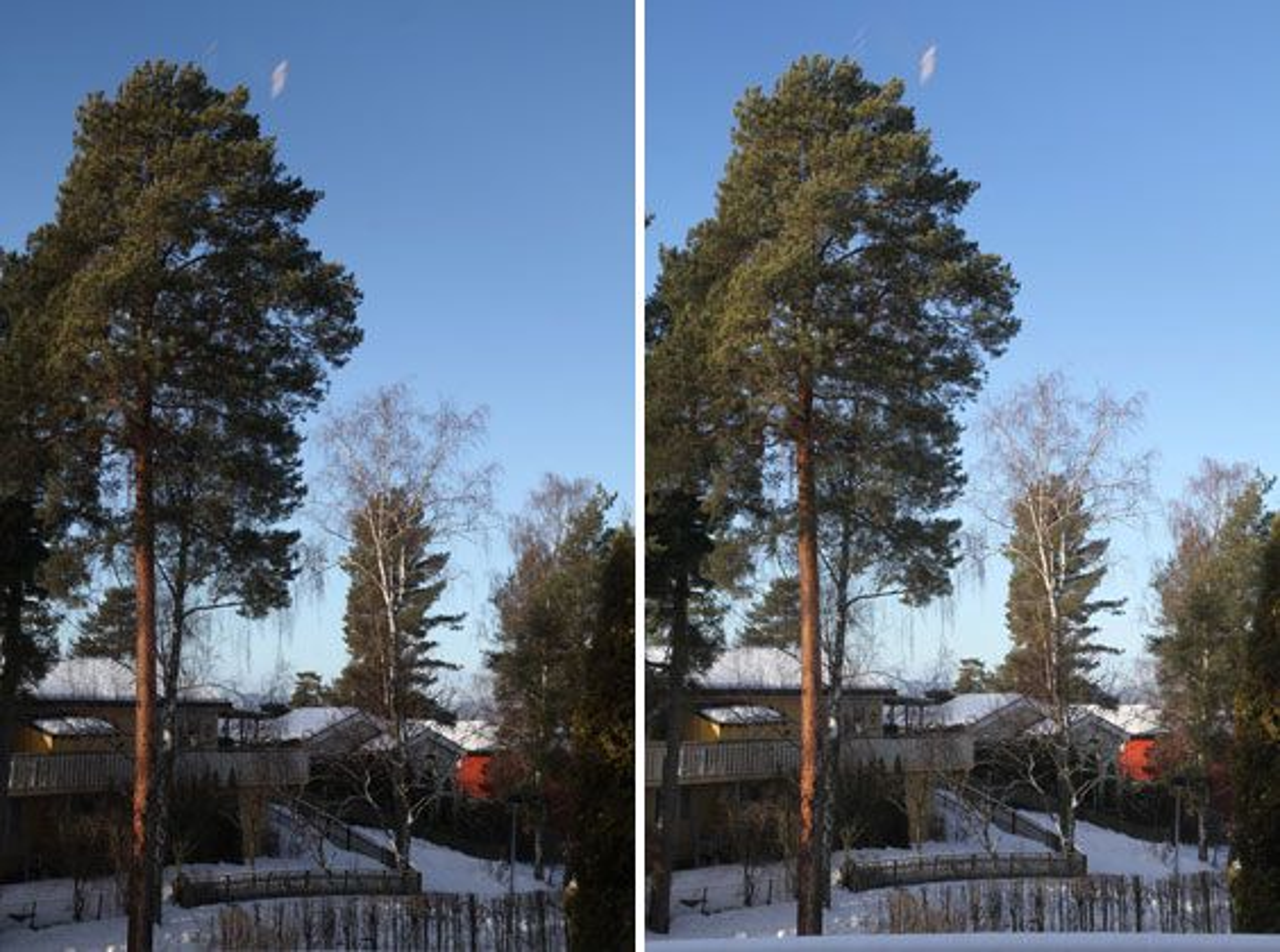 Samme eksponering, med og uten skyggejustering. Her er effekten satt til maks, og det kan virke noe overdrevet.
