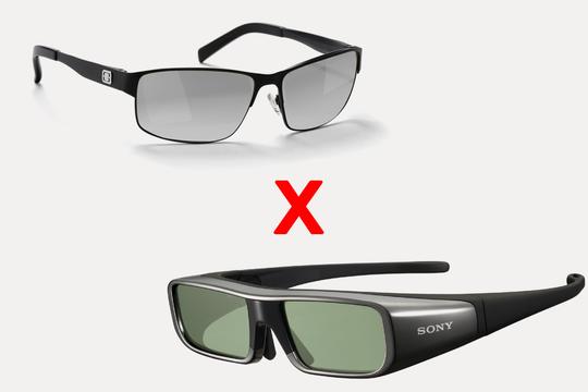 Eksempel på 3D-briller. Passive øverst, Sonys aktive briller nede.