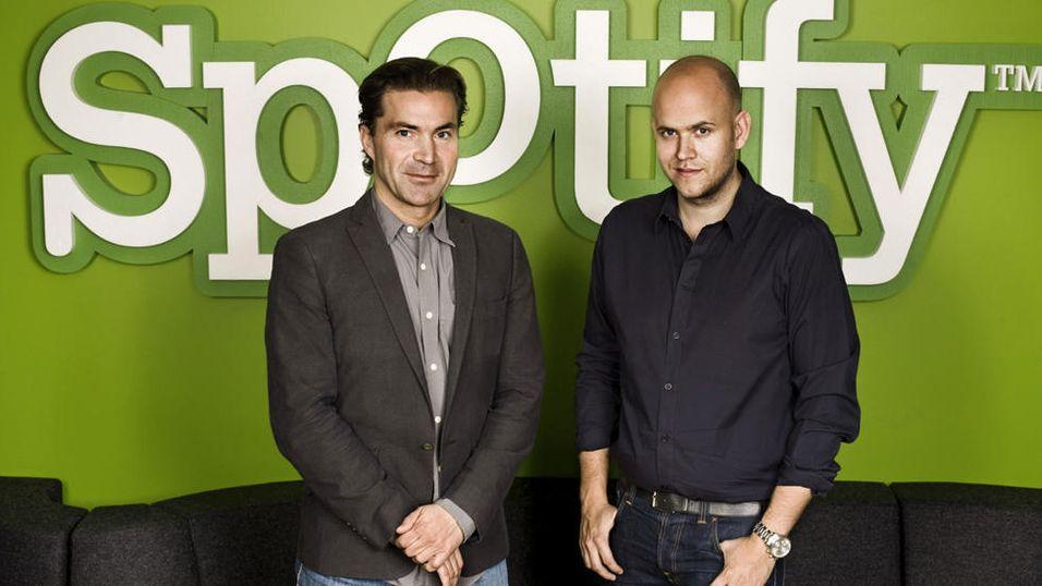 Martin Lorentzon og Daniel Ek fra Spotify.