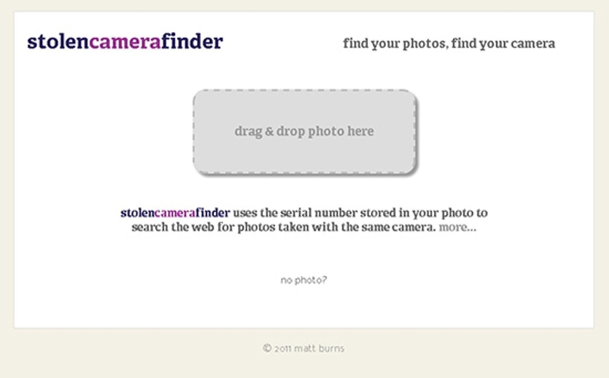 StolenCameraFinder er en fiffig nettside som kan hjelpe deg om du har blitt frastjålet kameraet ditt.