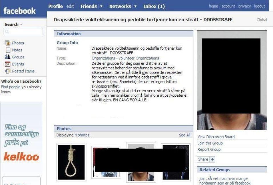 Drapssiktet trues på Facebook