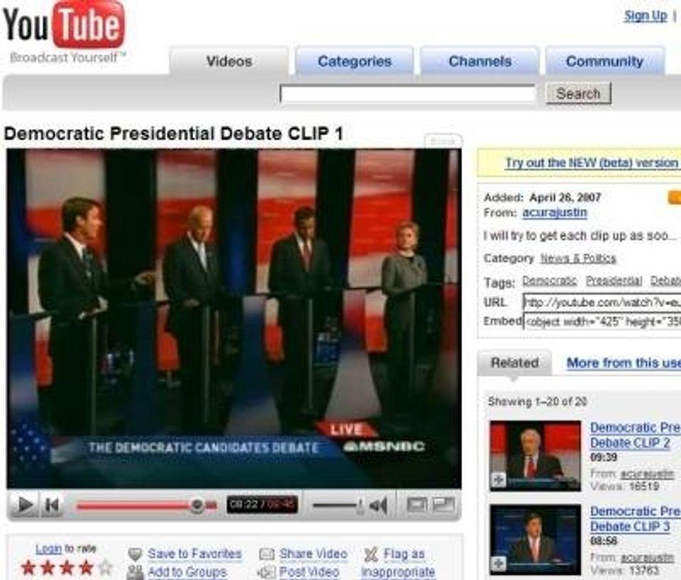 Politisk debatt via YouTube