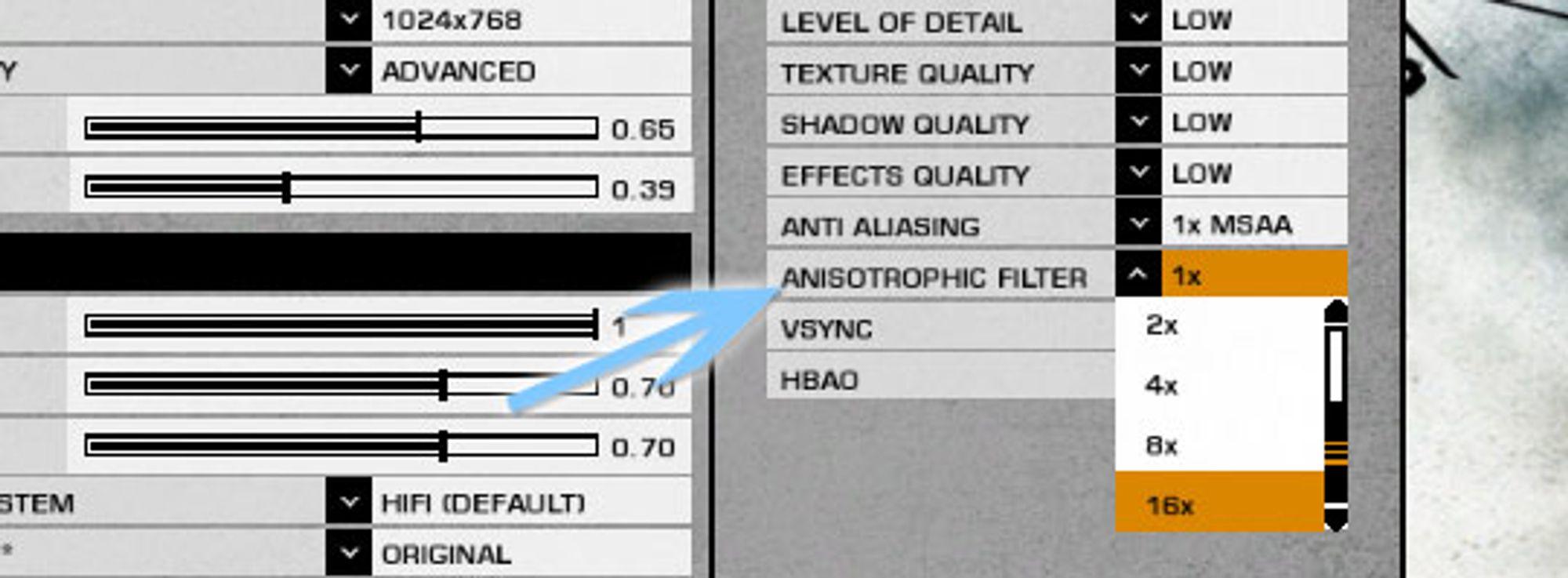 Anisotropic Filtering kan settes til det maksimale med en gang