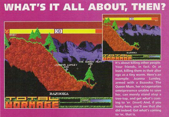 Worms startet tilværelsen som Total Wormage (klippet fra The One Amiga, mars 1995).