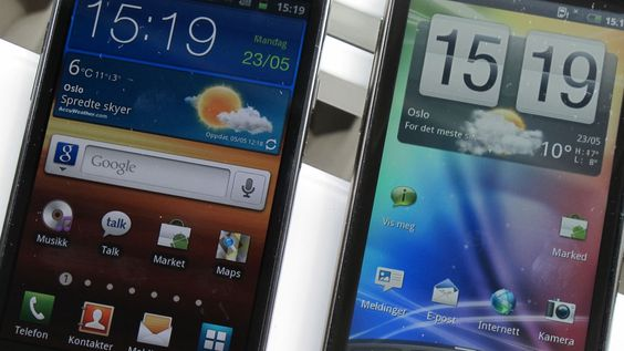 Galaxy S II til venstre, HTC Sensation til høyre.