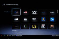 Med Bravia Internett-video kan du se videosnutter fra blant annet Eurosport.