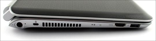 HDMI og en USB-kontakt på venstre side. Strøminntaket helt i bakkant.