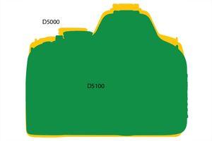 Forskjell i størrelse. D5100 foran, D5000 bak.