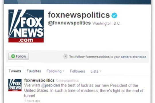 På dette bildet kan vi tydelig se at meldingen lå på Twittersiden i 4 timer. At Fox News brukte mange timer på å fjerne disse meldingene synes mange er utrolig.