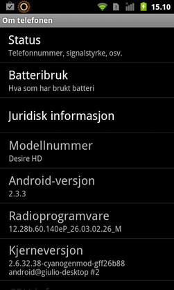 Denne telefonen har Android 2.3.3, og dermed kan det hende det finnes en oppdatering for den.