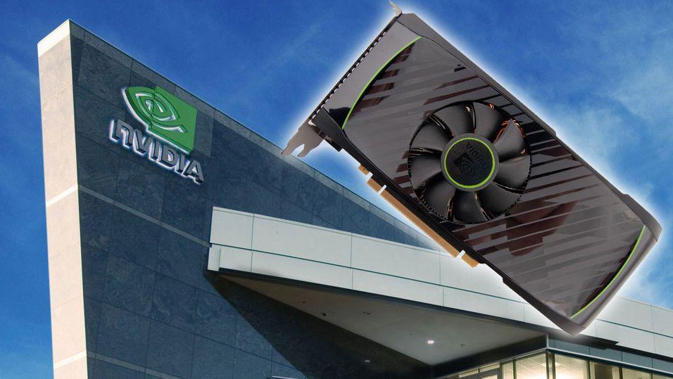 Nvidias hovedkvarter i Santa Clara, med et GTX 560-kort flygende forbi. Bakgrunnsbilde: Nvidia
